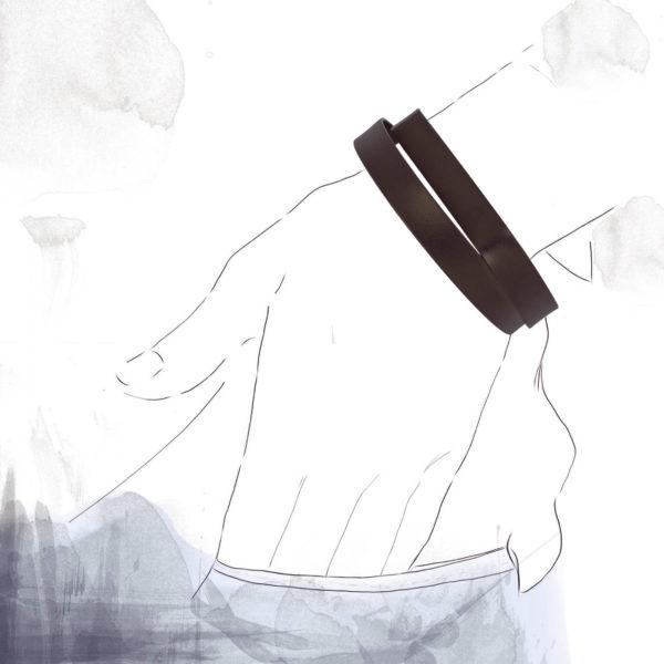 Bracelet Continu Ovale Brun