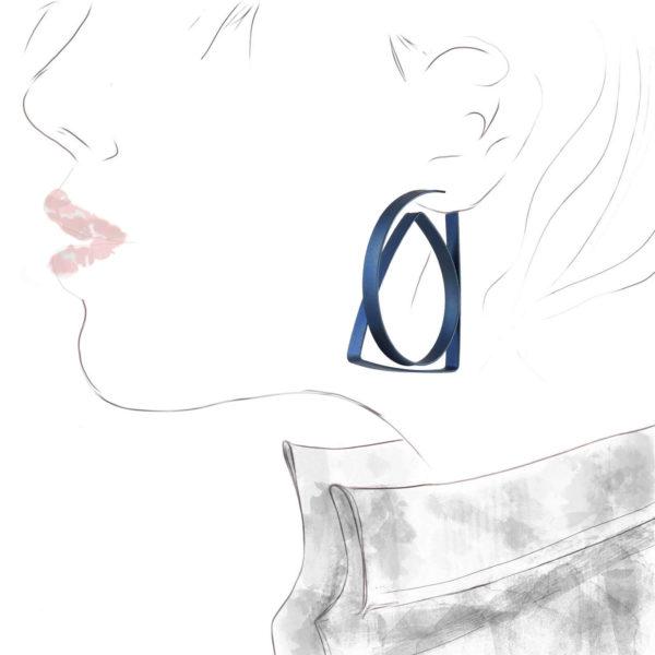 Boucles d'Oreilles Continues Triangle Titane Bleu