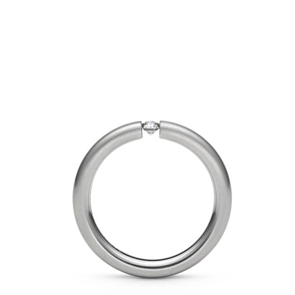 "Bague Tension Round Platine ""S"" Diamant 0.09ct Niessing®"