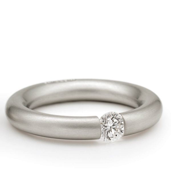 Bague Tension Ronde Or Gris Diamant Niessing