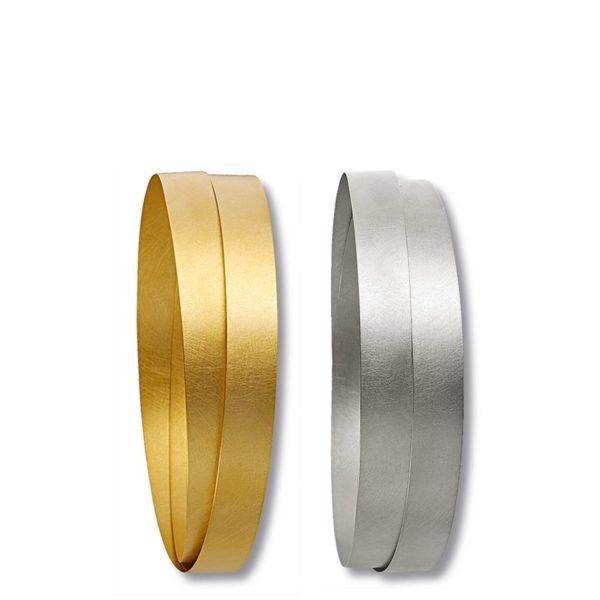 Deux bracelets Bow or jaune et or gris, ruban 8mm Niessing