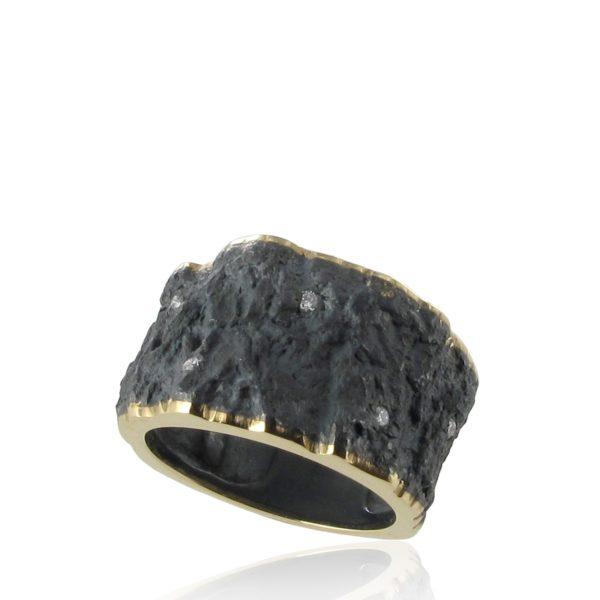 Anneau Ecorce Diamants or jaune et argent noirci
