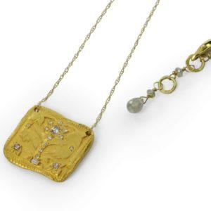 """Pendentif sur chaîne """"Arbre de Vie"""" Or Jaune et Diamants champagne baguettes et brillants"""