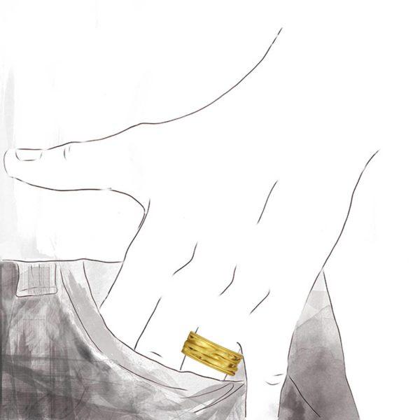Anneau Plissé Or Jaune, 9mm