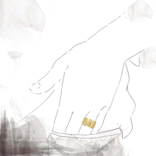 Anneau Décalé Or Jaune 13mm