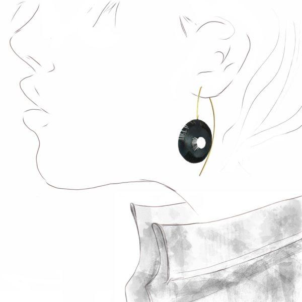 """Boucles d'Oreilles """"Petit Ricochet"""" Noir"""