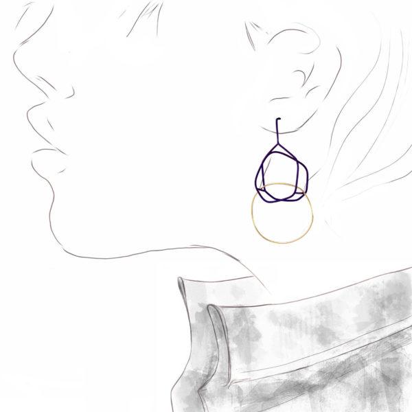 Boucles d'Oreilles Tracé Titane Violet et Or Jaune