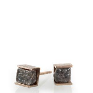 Clous d'Oreilles Cube Diamant Brut, Or Gris