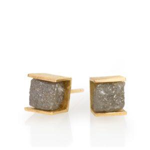 Cube diamant brut, or jaune