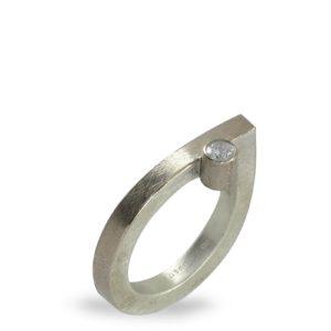Bague Diamant Décalé, Argent, Or Gris
