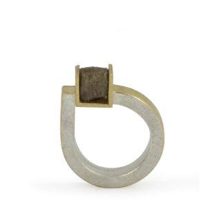 Bague Cube Diamant Brut Décalé, Argent, Or Jaune