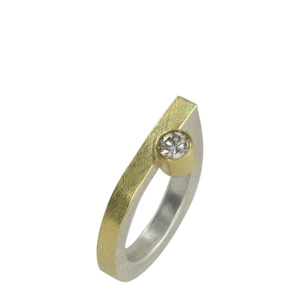 Bague Diamant Décalé, Or Jaune, Argent