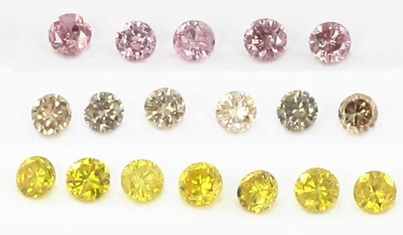Diamants naturels, roses, bruns, jaunes