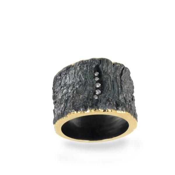 Bague Namibie Diamants or jaune et argent oxydé effet écorce
