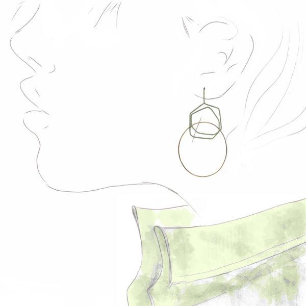 Boucles d'Oreilles Tracé Titane Vert et Or Rose