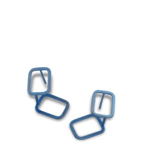 Clous d'Oreilles Ombres Rectangle, Titane Bleu