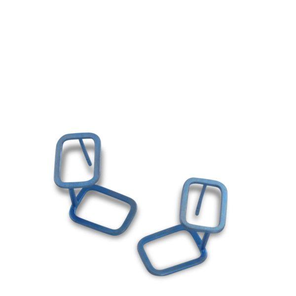 Clous d'Oreilles Ombres Rectangle, Titane Bleu