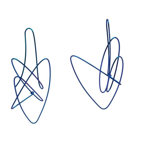 Boucles d'Oreilles Gribouillis Titane Bleu, medium