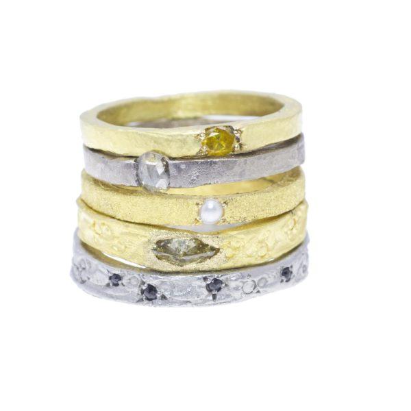 5 anneaux or gris ou or jaune 18ct