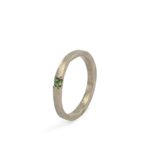 Anneau Fin Diamant Vert Or Gris