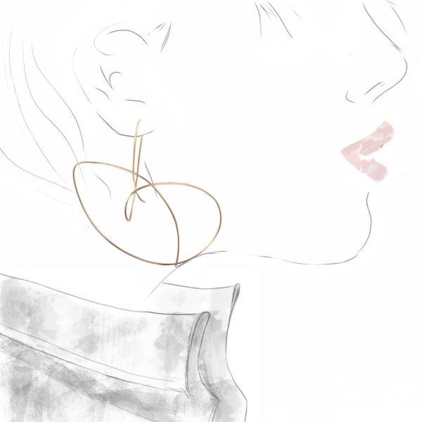 Boucles d'Oreilles Gribouillis 6 Or Rose