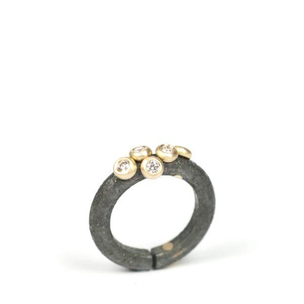 Bague Amandine Titane et Or Jaune avec Diamants