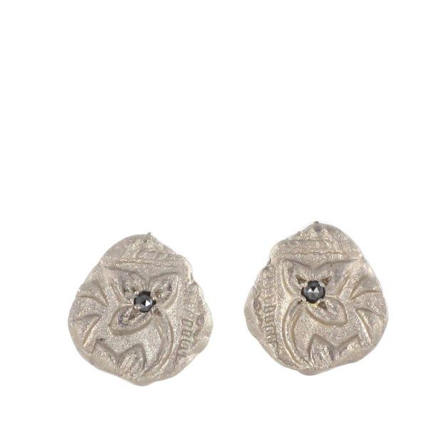 Clous d'oreilles Feuille Ciselée Or Gris Palladié Diamant Noir