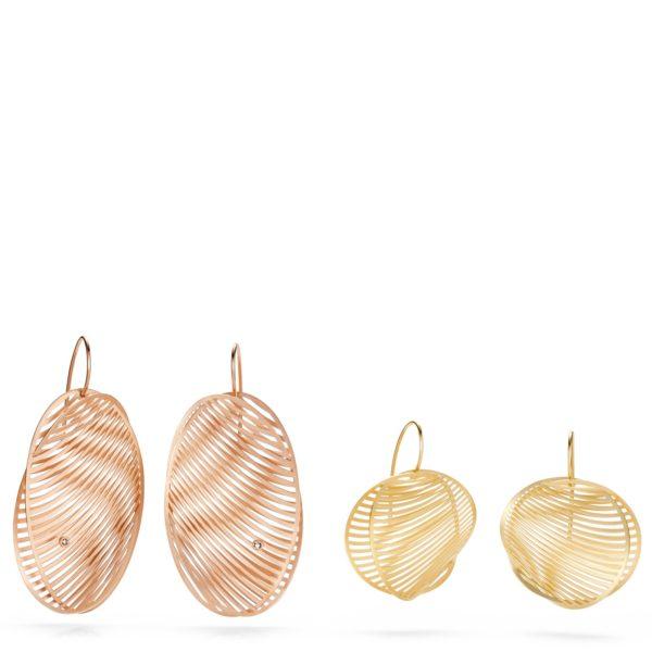 Variantes de Boucles d'Oreilles Mirage Or rouge ou jaune, avec ou sans diamant