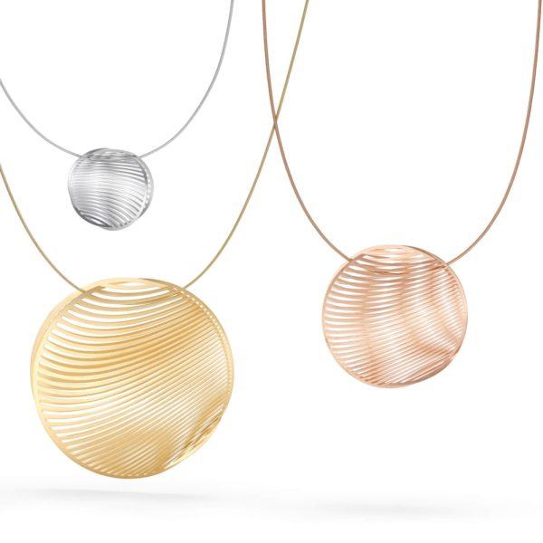 Composition pendentifs mirage or Niessing sur câbles