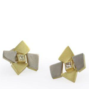 Clous d'Oreilles Etoiles Or Diamant Princesse, Or Gris et Or Jaune