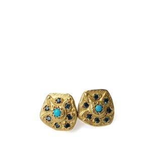Clous d'oreilles Turquoise Or Jaune et diamants