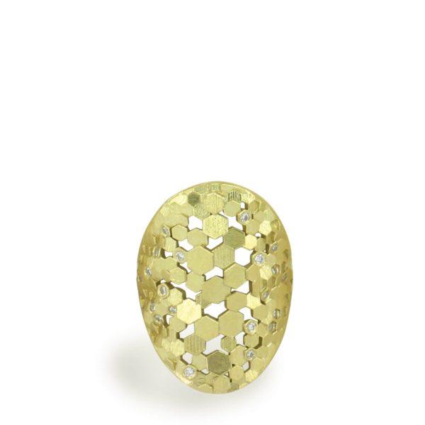 """Bague en Or Jaune """"Chaos Hex Shield"""" XL Diamants"""