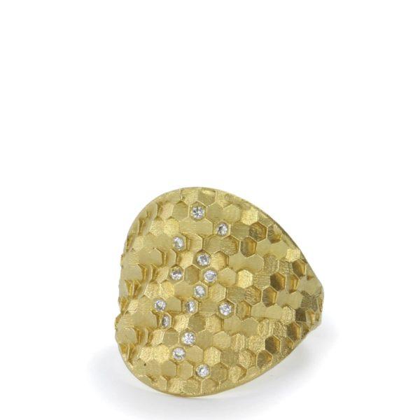 "Bague ""Medium Hex Shield"" en Or Jaune avec Diamants"