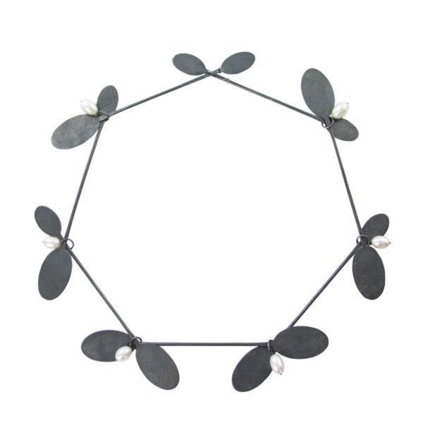 Collier Mistletoe semi-rigide Argent massif oxydé avec 6 perles d'eau douce