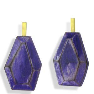 """Boucles d'Oreilles """"Purple"""", Bois et Vermeil Cristina Zani"""