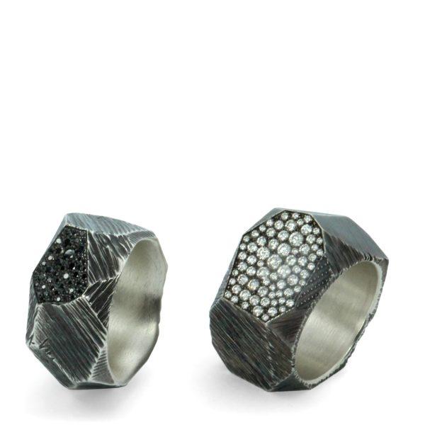 2 Bagues Rock Pavée Diamants