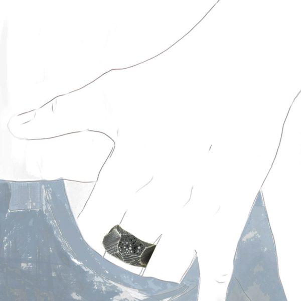 Bague Rock Pavée Diamants Noirs