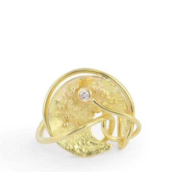 Bague Knot 3 Or Rose et Or Jaune, Diamant