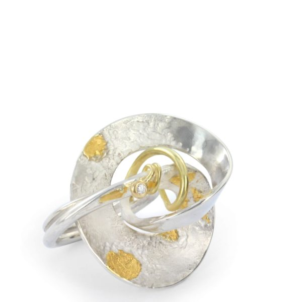 Bague Knot 1 Argent et Or Jaune, Diamant, Spirale