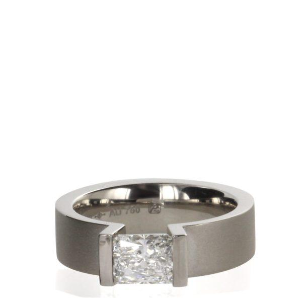 Bague Tension HighEnd C Diamant 1 carat Radiant Or Gris Niessing