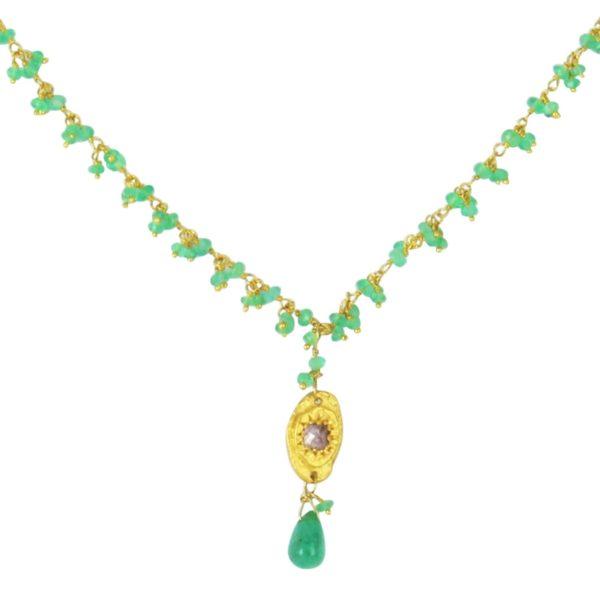 Collier goutte d'émeraude médaille or jaune et diamant rose