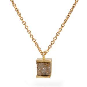 Pendentif Cube Diamant Brut Sur Chaîne