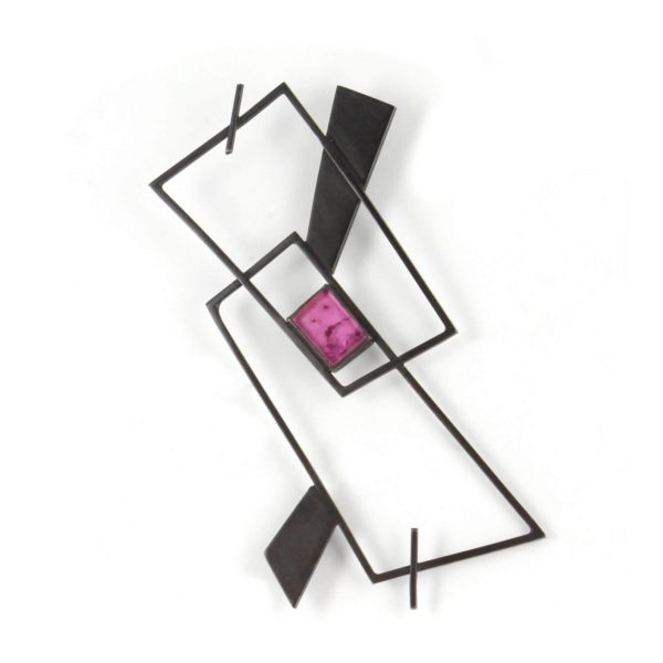 Broche Géométrique en Argent Oxydé avec Tourmaline Rose
