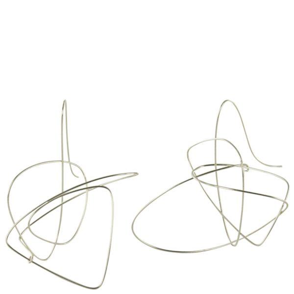 Boucles d'oreilles Gribouillis Argent, Taille Medium