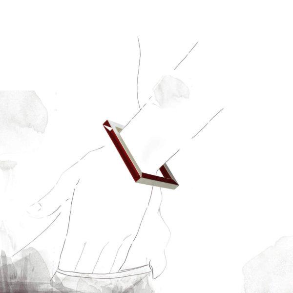 Bracelet Mag Argent et Pigment Rouge