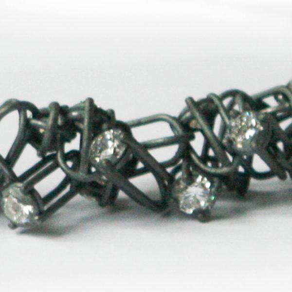 Collier Rivière, argent et dioxyde de zirconium, détail