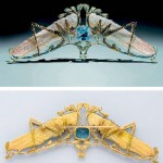 Broche Lalique pâte de verre et aigue-marine
