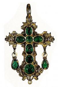 Croix ornée d'émeraudes provenant de l'épave du galion Atocha