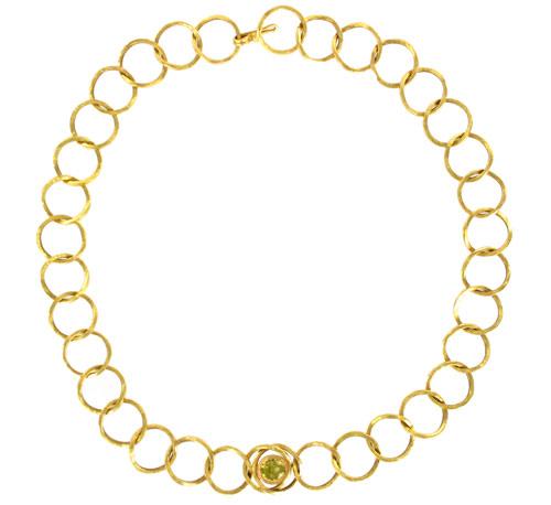 Costanza, collier en or martelé et chrysobéryl