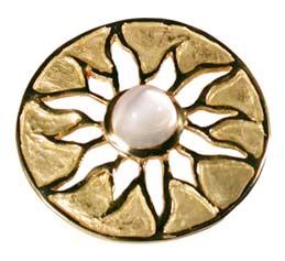Pendentif Aztèque, or jaune et pierre de lune